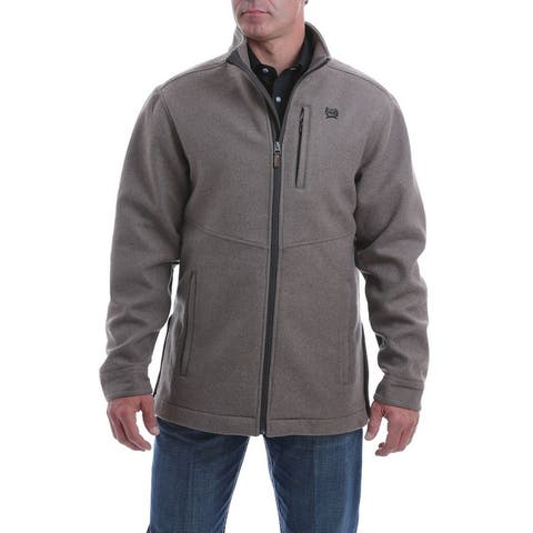 Cinch Western Jacket Mens 3/4 Length Wool Blend Zip Closure - Brown