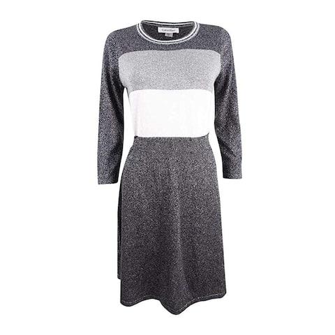 f37d01a473c Calvin Klein Women s Metallic Colorblocked Sweater Dress 3 4 Sleeve Work  Wear