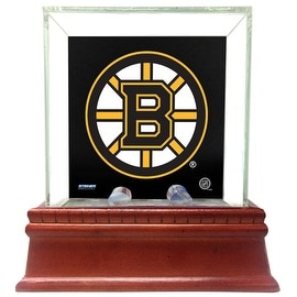Boston Bruins Glass Single Puck Case with Team Logo Background