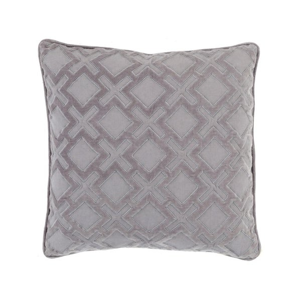 "18"" X's and Squares Smokey Gray and Lavender Gray Woven Throw Pillow - Down Filler"