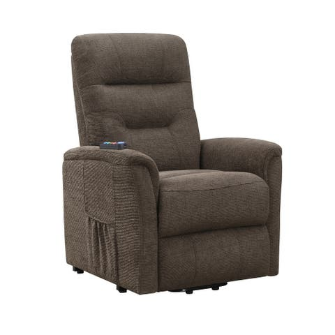 Fabric Power Lift Massage Chair with Tufted Stitched Accent, Brown