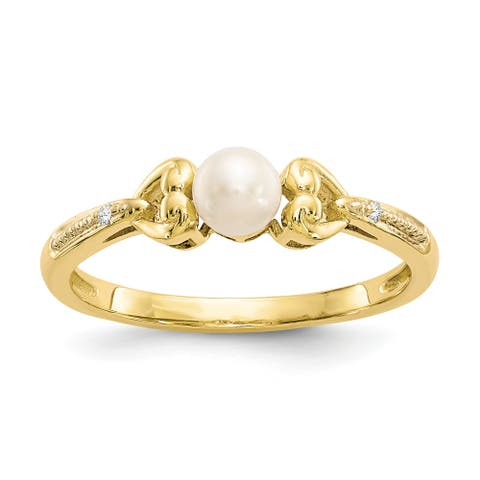10K Yellow Gold Freshwater Cultured Pearl and Diamond Ring by Versil