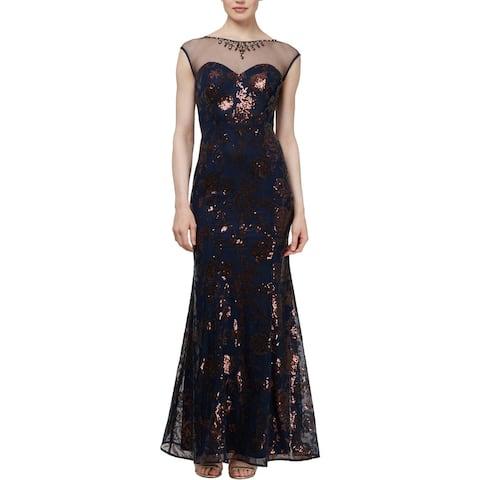 SLNY Womens Evening Dress Illusion Sequined