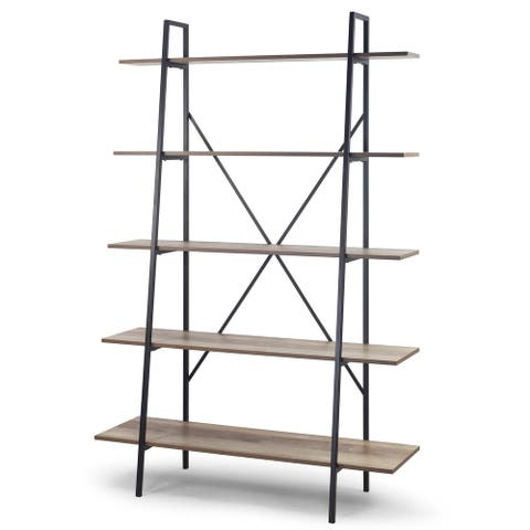 August 71.75 In. Leaning Ladder Etagere Light Brown Metal Frame