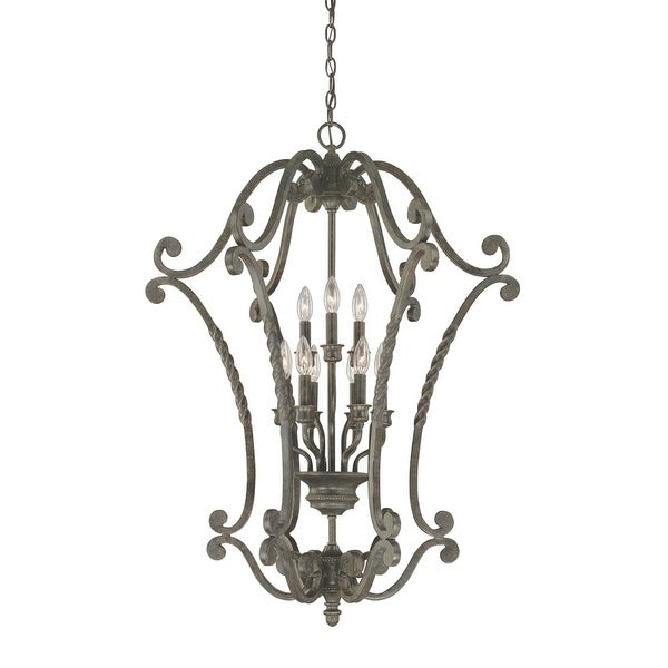 "Jeremiah Lighting 22439 Sutherland 9-Light Lantern Indoor Pendant - 28"" Wide - english toffee"
