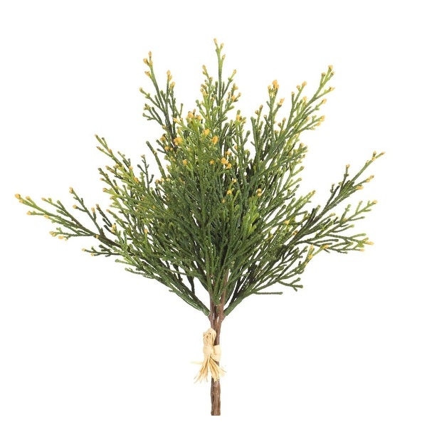 """Club Pack of 12 Green and Brown Artificial Decorative Cedar Bushes 13"""" - N/A"""