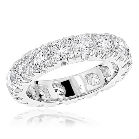 Ladies Eternity Band Anniversary Round Diamond Ring 4ctw in 14k Gold by Luxurman