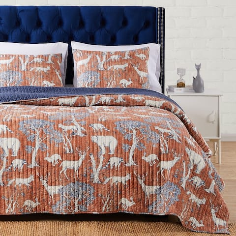Barefoot Bungalow Menagerie Quilt and Pillow Sham Set