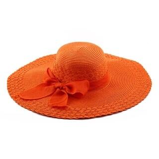 Woman Party Travel Wide Floppy Brimmed Summer Beach Straw Cap Sun Hat Orange