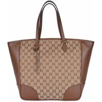 "Gucci Women's 449242 Beige Brown Large Bree GG Guccissima Purse Handbag Tote - Beige/Brown - 18"" x 13"" x 6.5"""