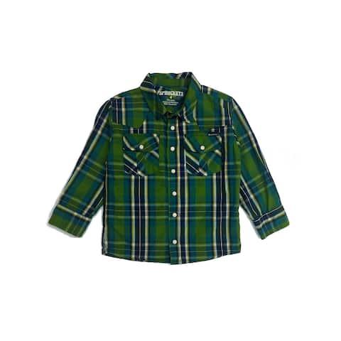 Sprockets Little Boys Green Plaid Casual Western Long Sleeve Shirt
