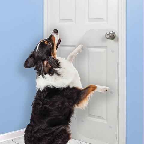 "Small Vinyl Door Guard for Dog Scratching - 36"" x 16"""