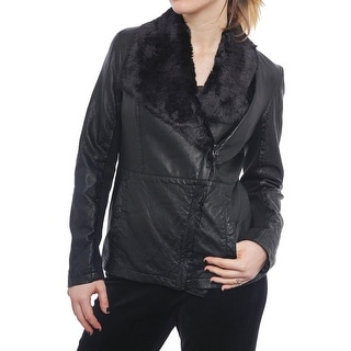 Kenneth Cole NY  Faux Leather Jacket with Faux Fur Collar Black