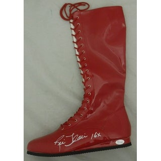 Ric Flair Autographed WWE Wrestling Boots Red Left 16x JSA