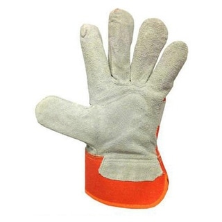 Mig Welding WELDERS Work Soft Cowhide Leather Gloves Orange Red
