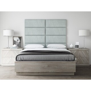 """VANT Upholstered Headboards - Accent Wall Panels - Packs Of 4 - Textured Cotton Weave Ash Gray - 30"""" Wide x 11.5"""" Height."""