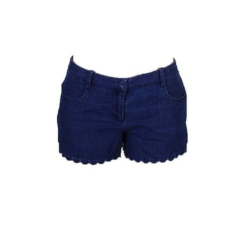 Max Studio London Indigo Cotton Scalloped Denim Shorts 10