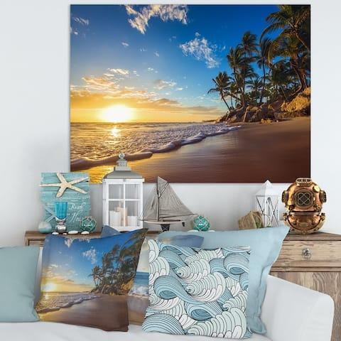Paradise Tropical Island Beach Sunrise Seashore Canvas Wall Art Print