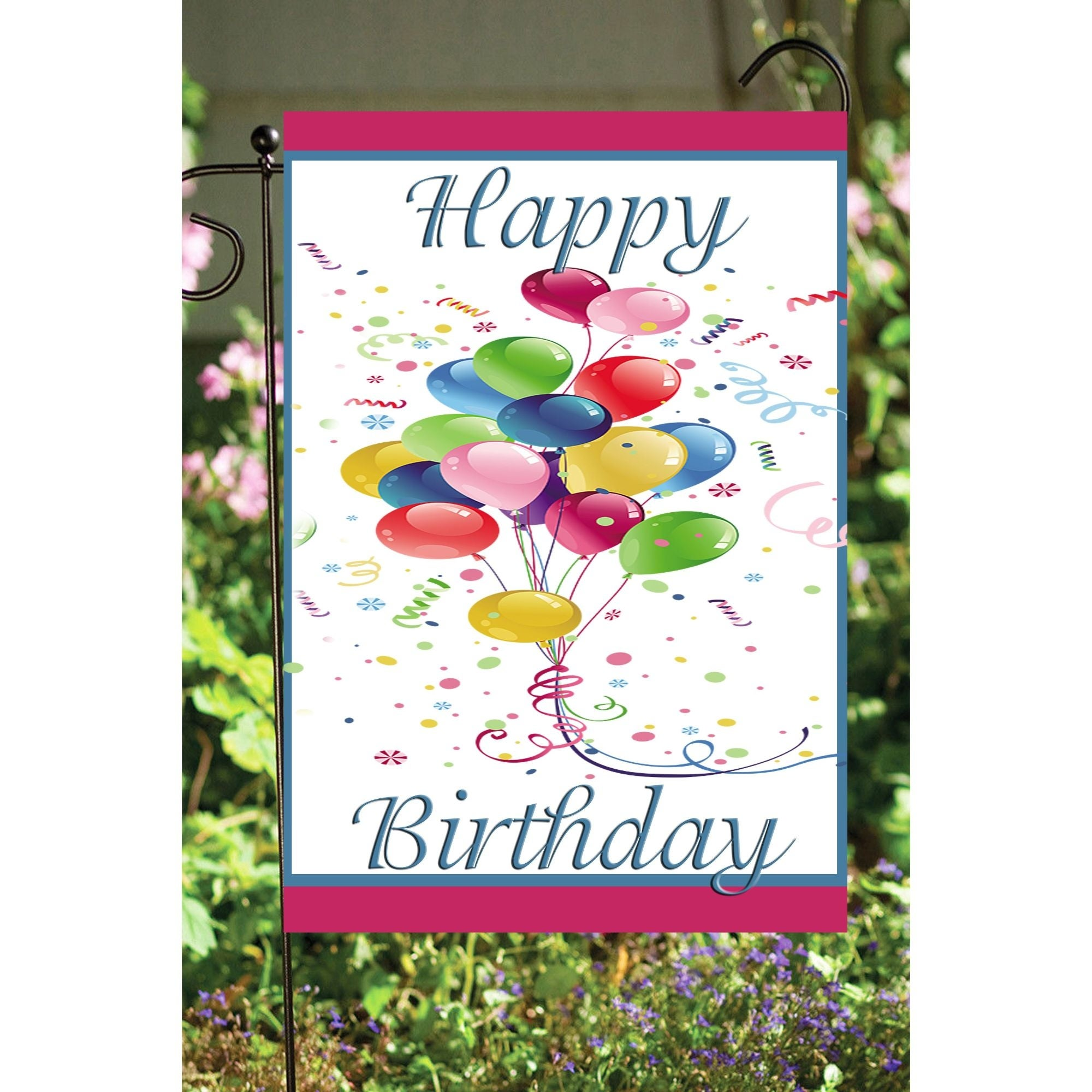 Blue Pink And White Happy Birthday Balloons Outdoor Garden Flags 18 X 12 Overstock 32210930