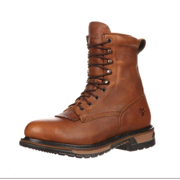 "Rocky Western Boot Men 9"" Original Ride Lacer WP Tan Pitstop"