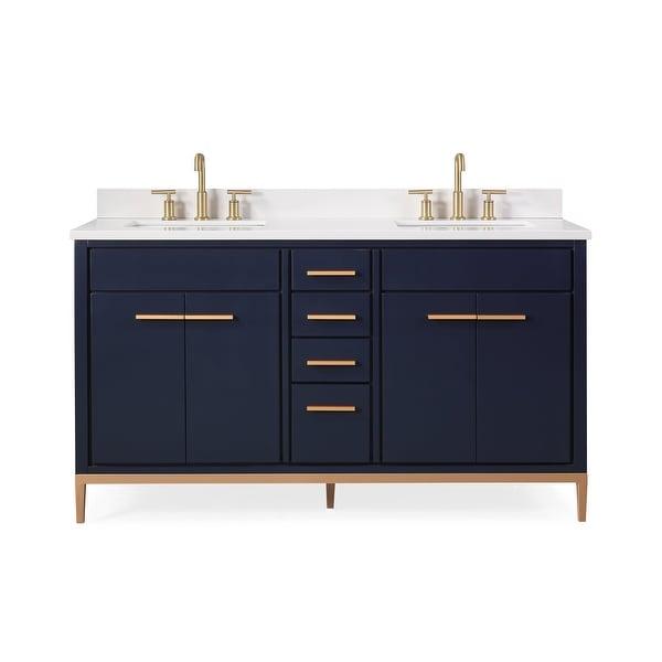 "60"" Tennant Brand Modern Style Navy Blue Beatrice Double Sink Bathroom Vanity. Opens flyout."