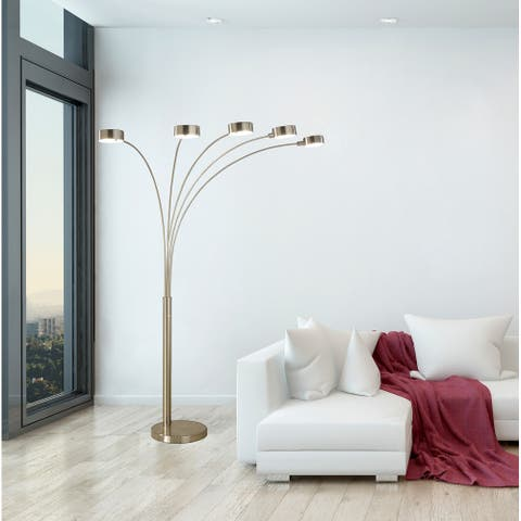 """Artiva 88"""" 5 Arc Steel Tree Lamp w/ Dimmer Switch, Rotatable Shades"""