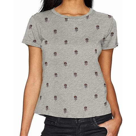 Lucky Brand Womens Gray Size XS All Over Embroidred Floral Crew Blouse