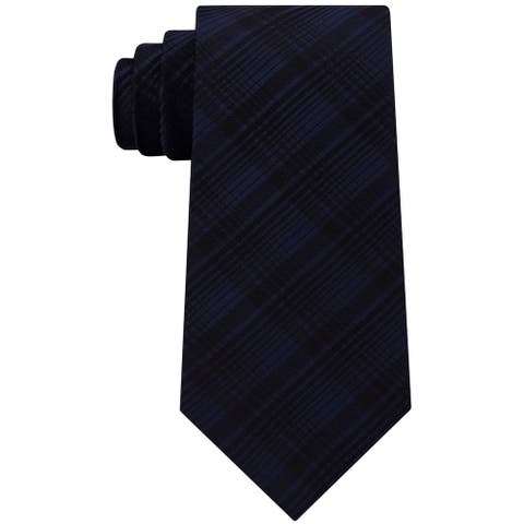 Kenneth Cole Mens Tonal Plaid Self-Tied Necktie - One Size