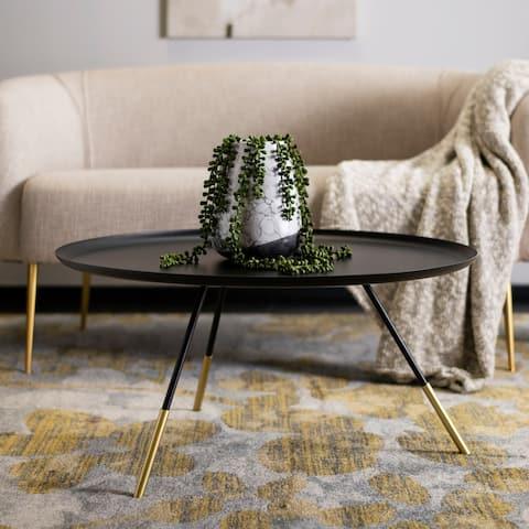 "Safavieh Orson Coffee Table W/ Metal Gold Cap-Black / Gold - 29"" x 29"" x 14.6"""