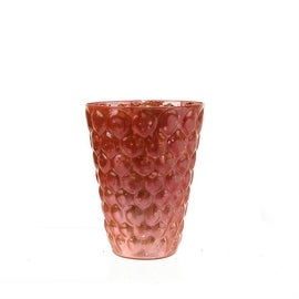 """Set of 4 Pink and Silver Textured Mercury Glass Decorative Votive Candle Holders 4.5"""""""