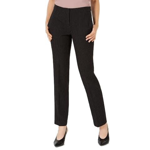 Bar III Women's Dress Pants Black White Size 4 Stretch Pinstripe