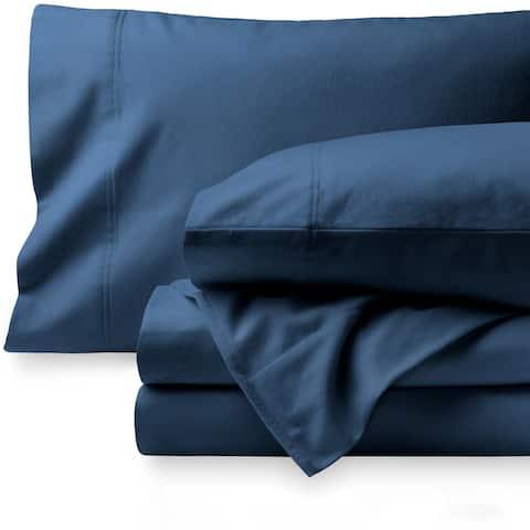 Bare Home Velvety Soft Cotton Flannel Deep Pocket Sheet Set