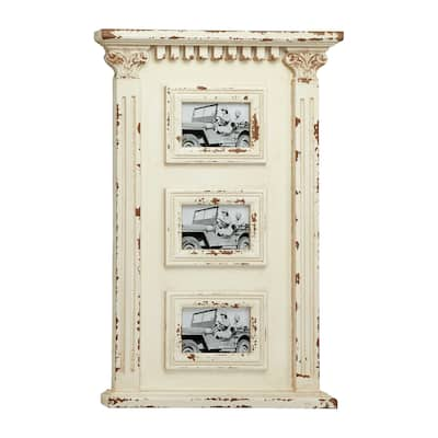 """Antique White Wood Wall Photo Collage Wall Decor with 3 Picture Frames 16.5"""" x 27.5"""""""