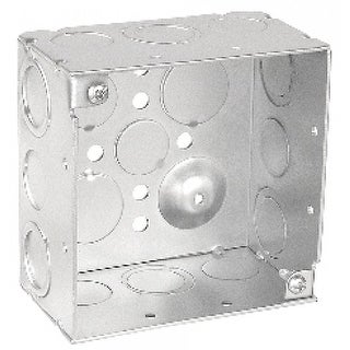 10 Pcs, 4 Square Junction Box, 2-1/8 in. Deep, (6) 1/2 in. & (6) Combo Side Knockouts, .0625 Galvanized Steel