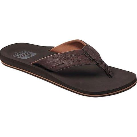 Reef Men's Twinpin Lux Vegan Flip Flop Brown Vegan Leather