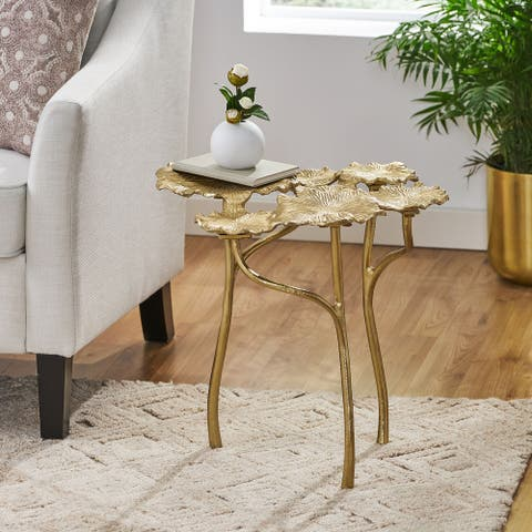 """Justamere Boho Glam Handcrafted Aluminum Leaf Pad Accent Table by Christopher Knight Home - 20.50"""" L x 17.50"""" W x 19.75"""" H"""
