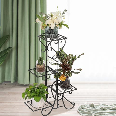 4 Potted Square Flower Metal Shelves Plant Pot Stand Decoration - 8' x 10'