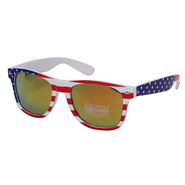 fff98d794aa9 Shop Mechaly Unisex USA Flag Yellow Wayfarer Style Sunglasses - Free  Shipping On Orders Over  45 - Overstock - 19566486
