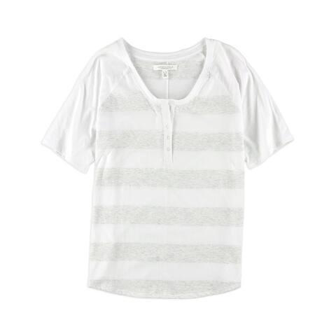 Aeropostale Womens Heather Stripe Henley Shirt, white, X-Large
