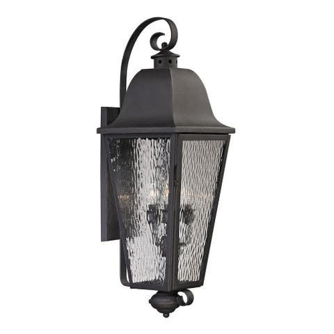 Rectangular Four Light Outdoor Wall Lantern with Scrolling Arms - Traditional Porch Light