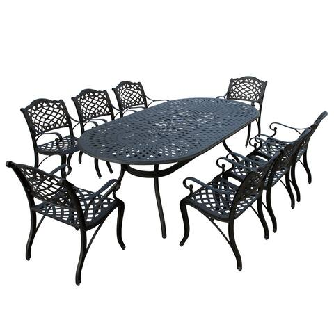 Modern Outdoor Mesh Lattice Aluminum 95-in Large Oval Patio Dining Set with Eight Arm Chairs
