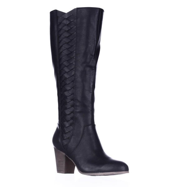 Fergalicious Cally Woven Side Tall Boots, Black