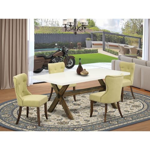 Modern Table Set Include Parson Chairs with Limelight Linen Fabric and Rectangular Top (Size, Number of Chair and Bench Option)