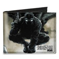 Ultimate Spider Man Marvel Spider Man Noir Issue #1 Cover Pose + Face Close Canvas Bi-Fold Wallet One Size - One Size Fits most