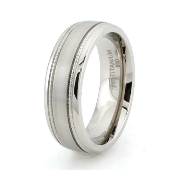 Titanium Ring w/ Grain Inlay & Brushed Center