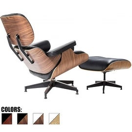2xhome - 100% Genuine Real Italian Leather Modern Classic Plywood Eames Lounge Chair and Ottoman - Eames Chair