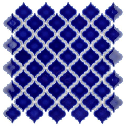SomerTile 12.375x12.5-inch Antaeus Cobalt Blue Porcelain Mosaic Floor and Wall Tile