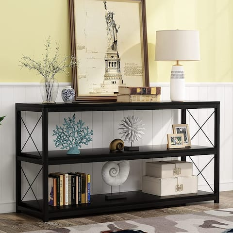 Rustic Console Sofa Table with Open Shelf, Industrial TV Stand 3 Shelf Horizontal Hallway Entryway Table with Storage