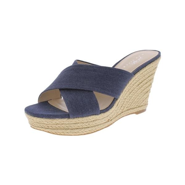 fcaa6b0d26f Shop 424 Fifth Womens Sadie Wedge Sandals Criss-Cross Front Cross ...