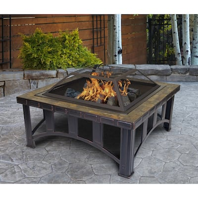 Outdoor Leisure Products 30 inch Square Steel Firepit with Decorative Slate Hearth and Oil Rubbed Bronze Finish